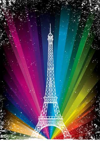 eiffel tower: vector de la tarjeta con la torre Eiffel en el fondo del arco iris