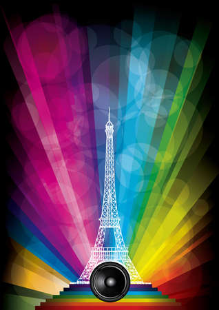 vector card with eiffel tower and neon lights on a rainbow background Vector