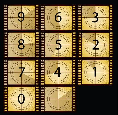 film countdown in yellow color beauty style Vector