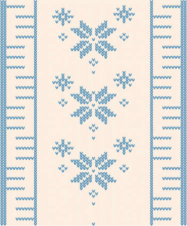 Beautiful ornamental pattern for knitting with blue flower Vector
