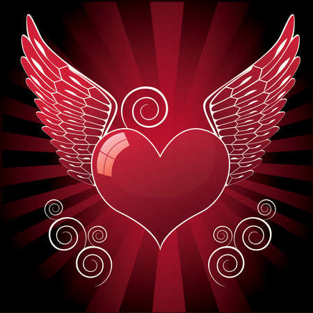 valentin: glossy heart with wings and swirl, vector illustration Illustration