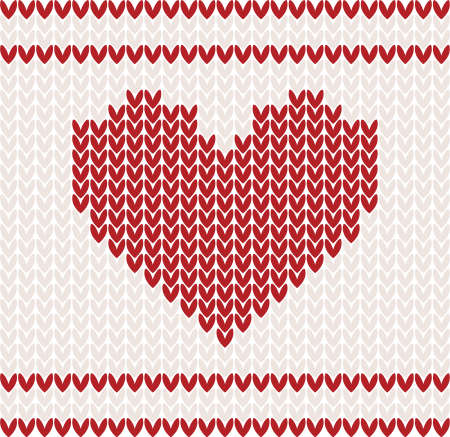 Knitted vector pattern with red heart