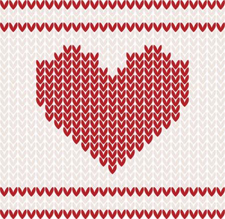 Strick-Vektor-Muster mit rotem Herz Standard-Bild - 11580314