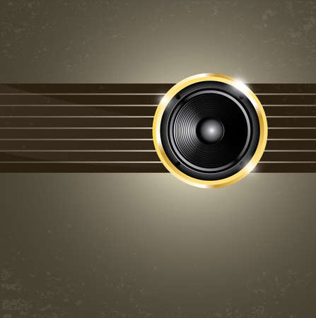 Modern music background with golden speaker on lines Vector