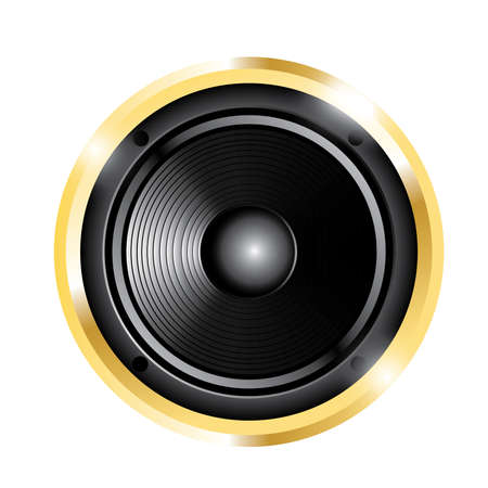 illustration of golden audio speaker. Isolated on white background