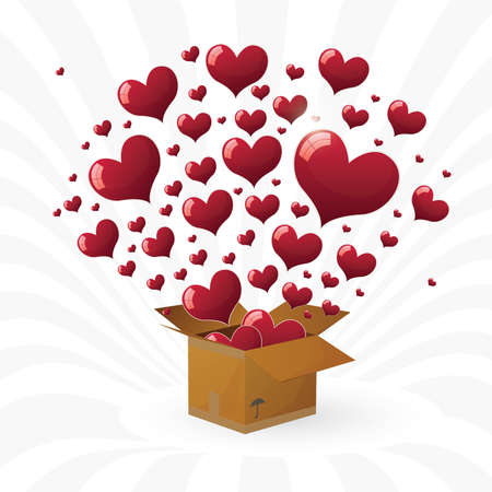 Valentines day. box with fly hearts. vector illustration   Vector
