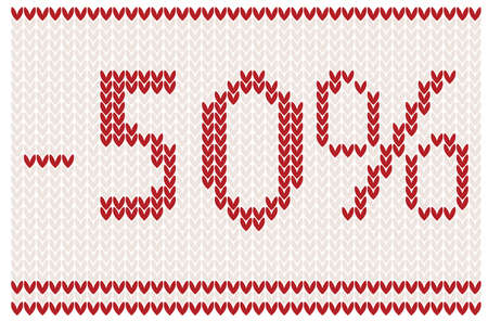 Sale background knitted design - 50% off Vector