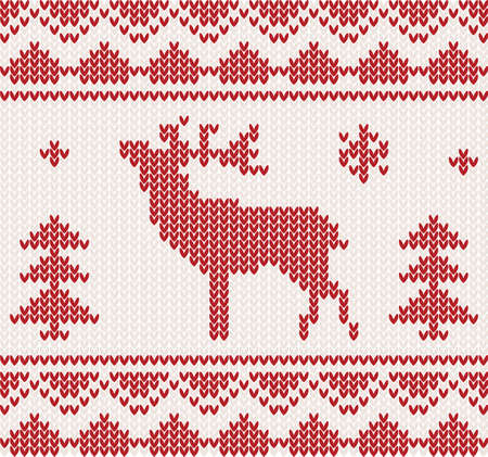 Christmas Knitted background with deer, trees and ornament