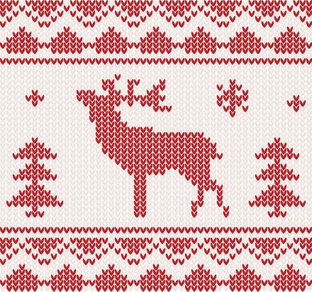 knitted background: La Navidad de punto de fondo con los ciervos, �rboles y ornamentos Vectores