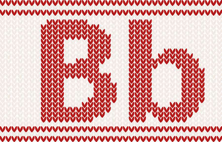 darning: Red knitted Letter b on beige Background