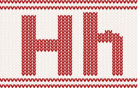 베이지 색 배경에 빨간색 니트 편지 h