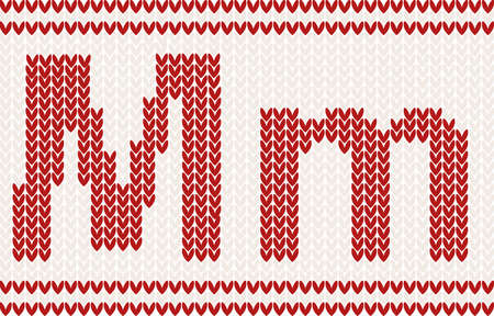 Red knitted Letter m on beige Background Vector