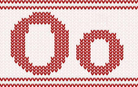 knitted background: Red knitted Letter o on beige Background