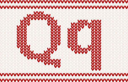 darning: Red knitted Letter q on beige Background Illustration