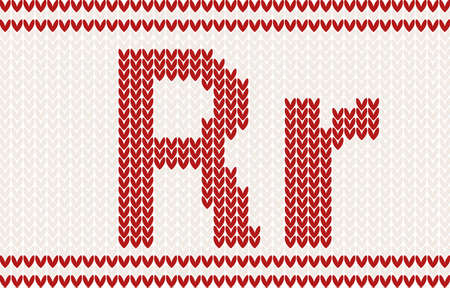 letter r: Red knitted Letter r on beige Background