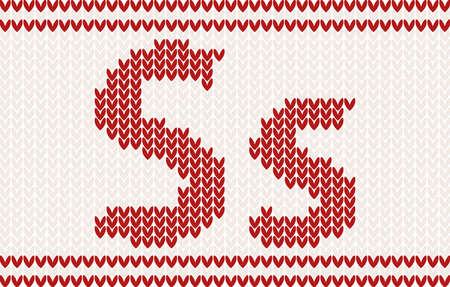 knitted background: Red knitted Letter s on beige Background