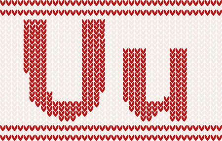 Red knitted Letter u on beige Background Stock Vector - 11765175