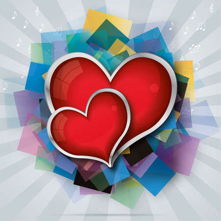 valentine's card with two red glass hearts on transparent squares Vector