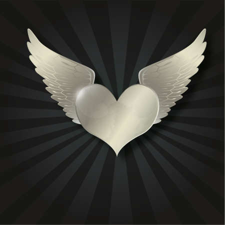 lightness: Valentine metal heart with wing in the dark radiant black background Illustration