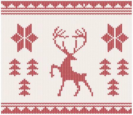 woolen fabric: La Navidad de punto de fondo con los ciervos, �rboles y ornamentos Vectores