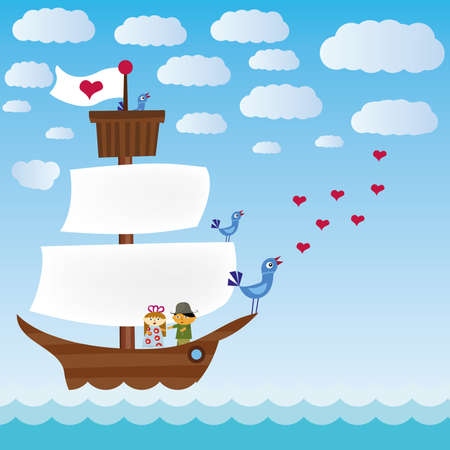 ship with three singing birds in sea and lover pair Vector
