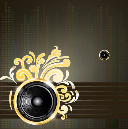 Music vector composition with speaker and golden swirls Vector