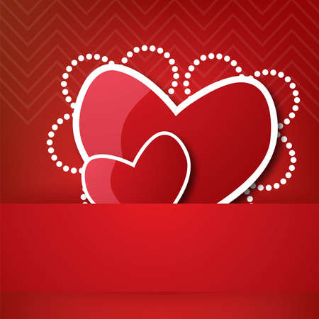 couple of valentines heart in pocket. illustration on red background and place for text. Vector