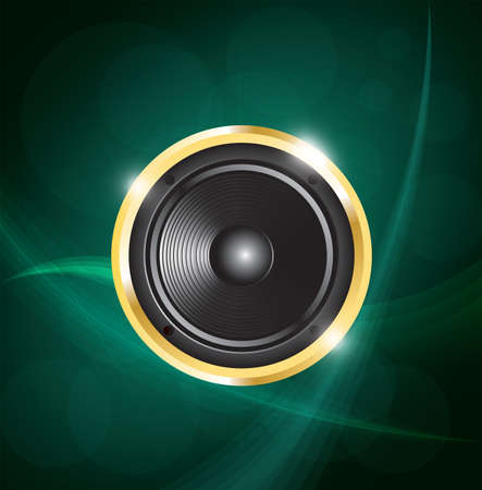 speaker on green neon background. vector illustration Vector