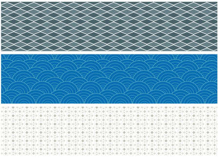 flowing river: set of three ornamental patterns. vector illustration