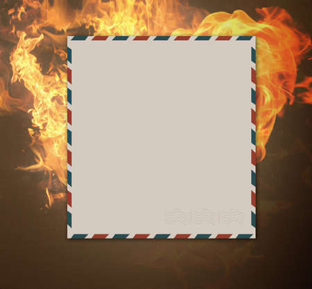 antique letter on burning background.air decor photo