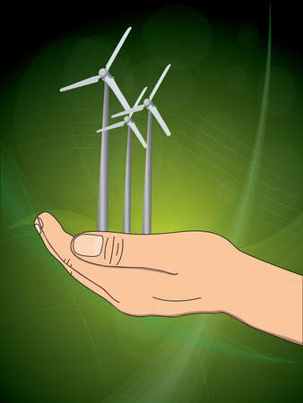 ecology concept with hand which give wind power station. vector illustration Vector