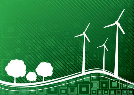 Ecology concept. Renewable energies - wind turbines. vector illustration Vector