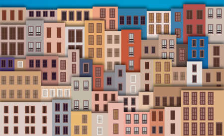 City Landscape with facade of old buildings Vector