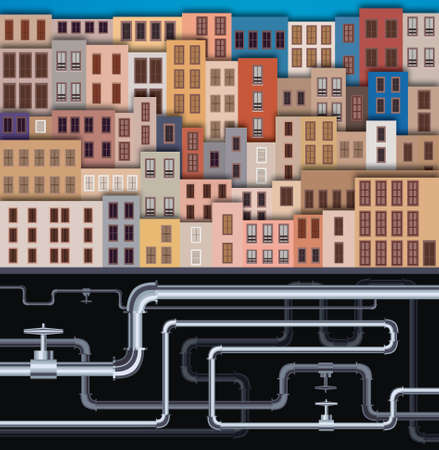 pawn shop: City Landscape with facade of old buildings and tubes Illustration