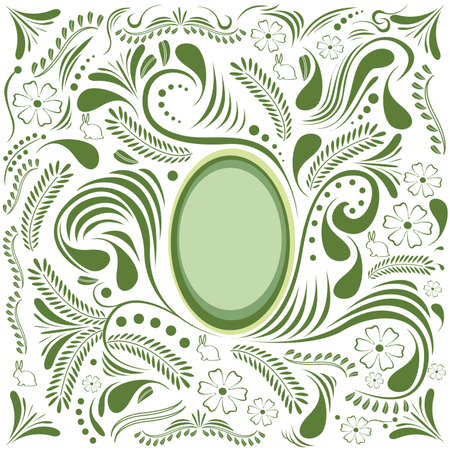 Easter green card with egg and floral ornament Vector