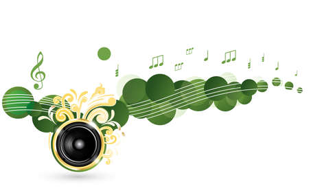 Colorful music background with golden speaker and notes Vector