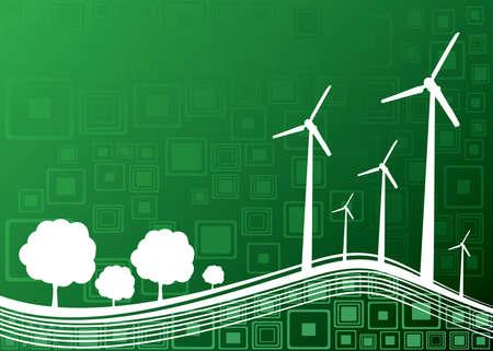 industria de la ecología y el concepto de la naturaleza de fondo - ilustración vectorial