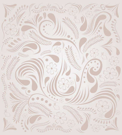 floral background with flowers,leaves,rabbits and swirls Vector