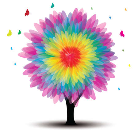 vector tree with flower and butterflies on white