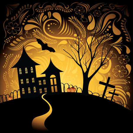 trick: Halloween background with pumpkin, night bat, tree and house