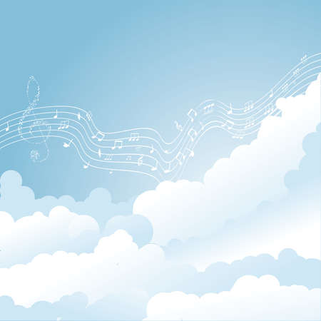 Vector musical notes staff in clouds  vector illustration Stock Vector - 12773792