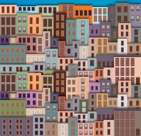 Stad Landschap met gevel van oude gebouwen Vector Illustratie