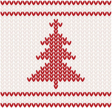 Christmas tree knitted pattern illustration Vector
