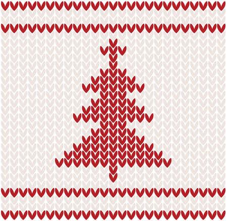 woolen: Christmas tree knitted pattern illustration Illustration