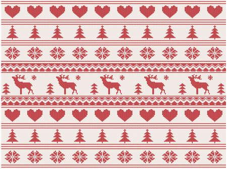 deers에 일러스트와 함께 뜨개질을 한 크리스마스 패턴