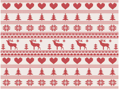 nordic country: knitted christmas pattern with deers illustration