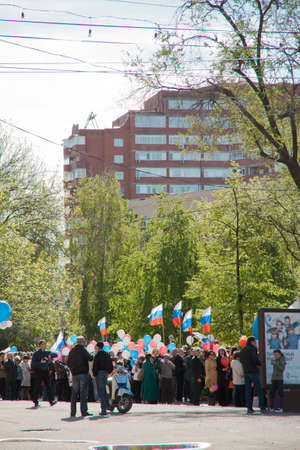 RUSSIA, PENZA - MAY 1: May Day demonstration. People celebrate Labor Day, May 1, 2012 in Penza Russia Stock Photo - 13575149