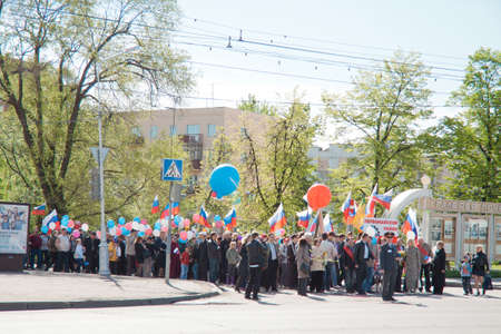 RUSSIA, PENZA - MAY 1: May Day demonstration. People celebrate Labor Day, May 1, 2012 in Penza Russia Stock Photo - 13575152
