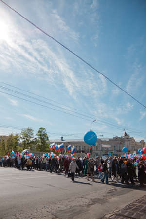 RUSSIA, PENZA - MAY 1: May Day demonstration. People celebrate Labor Day, May 1, 2012 in Penza Russia Stock Photo - 13575062