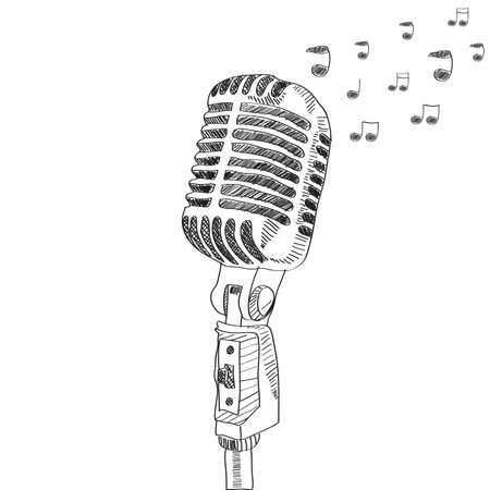 old microphone: hand drawn vector microphone with note. isolated